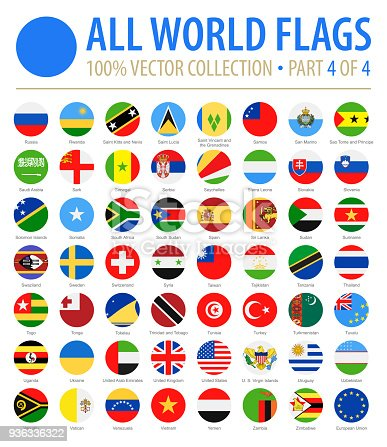 World Flags - Vector Round Flat Icons - Part 4 of 4