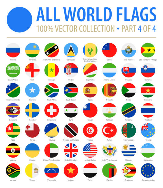 world flags - vector round flat icons - part 4 of 4 - union jack flag stock illustrations, clip art, cartoons, & icons