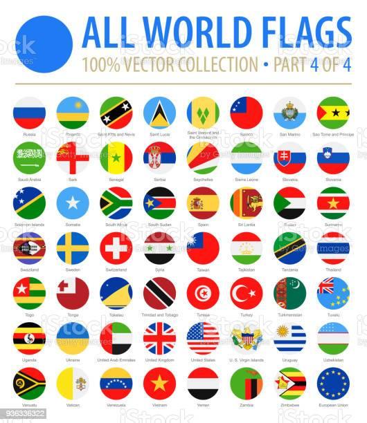 World Flags Vector Round Flat Icons Part 4 Of 4 - Stockowe grafiki wektorowe i więcej obrazów Alfabet
