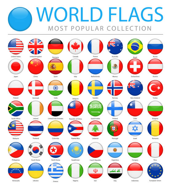 world flags - vector round glossy icons - most popular - union jack flag stock illustrations, clip art, cartoons, & icons