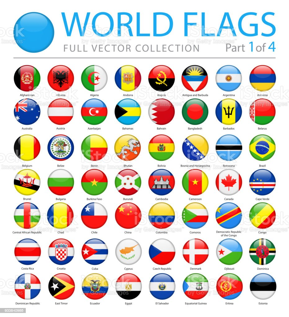 World Flags - Vector Round Glossy Icons - Part 1 of 4 vector art illustration