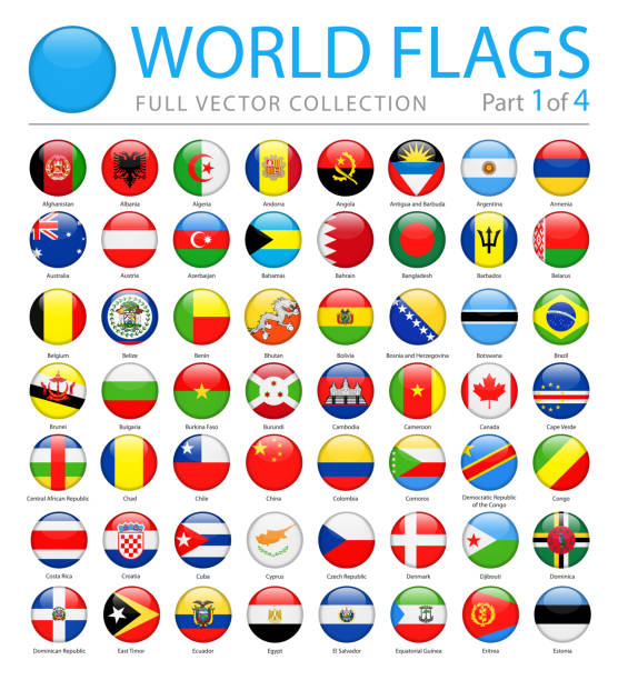 world flags - vector round glossy icons - part 1 of 4 - białoruś stock illustrations