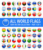 World Flags - Vector Round Glossy Icons - Part 1 of 4