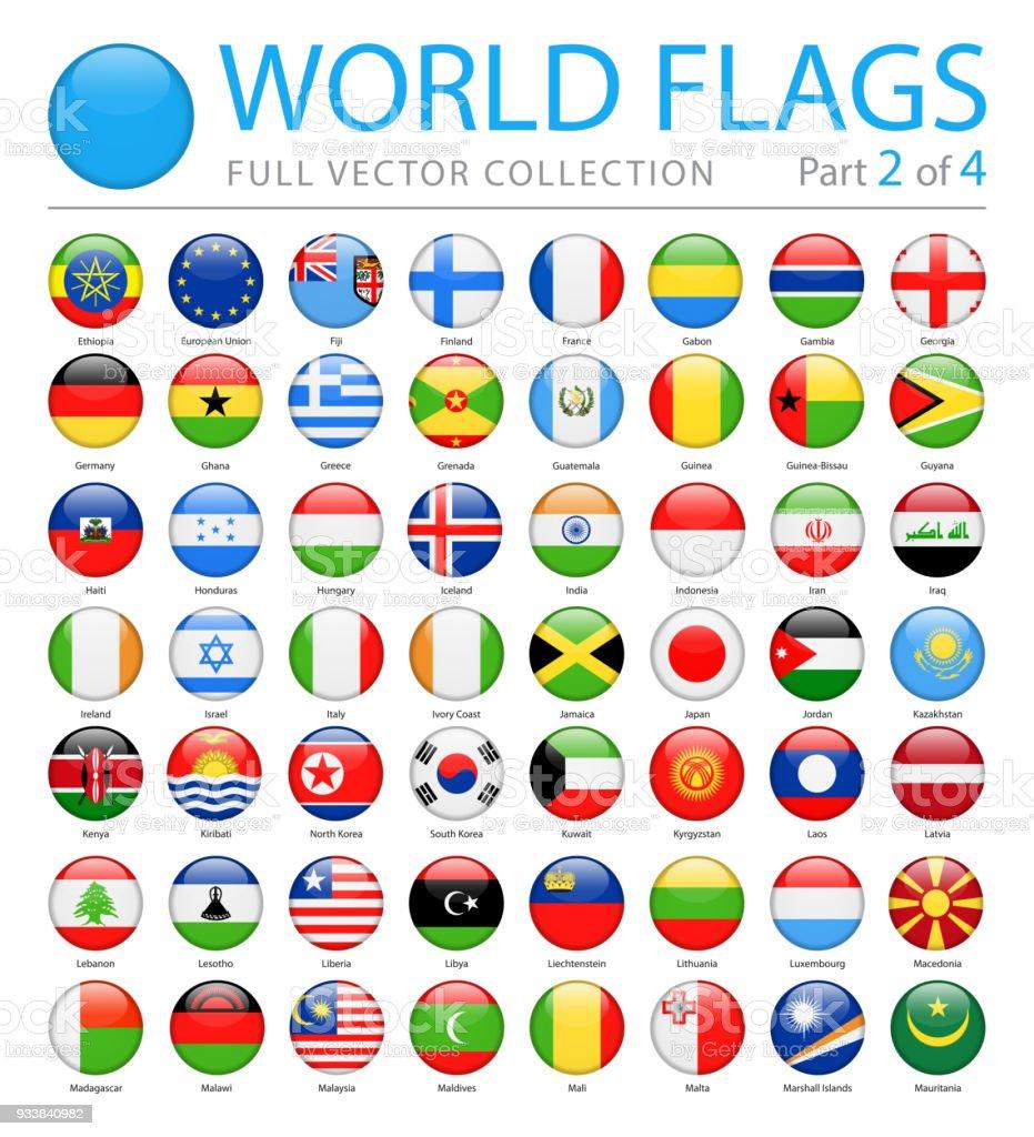 Welt-Flaggen - Vektor-Runde glänzende Symbole - Teil 2 von 4 – Vektorgrafik