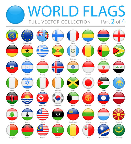 World Flags - Vector Round Glossy Icons - Part 2 of 4 World Flags - Vector Round Glossy Icons - Part 2 of 4 national flag illustrations stock illustrations