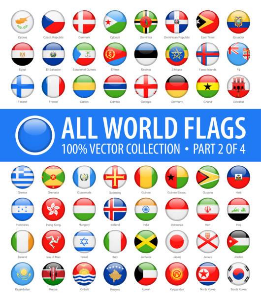 ilustrações, clipart, desenhos animados e ícones de bandeiras do mundo - vector icons brilhantes redondos - parte 2 de 4 - botões de bandeiras