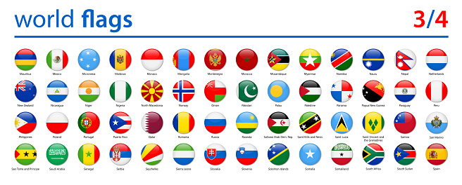 World Flags - Vector Round Glossy Icons - Part 3 of 4