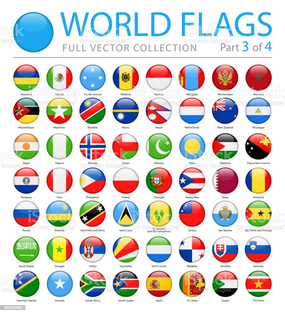 World Flags - Vector Round Glossy Icons - Part 3 of 4 vector art illustration