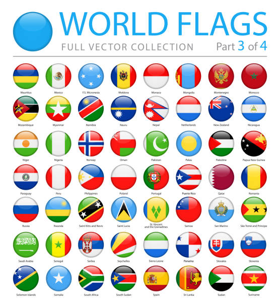 world flags - vector round glossy icons - part 3 of 4 - polish flag stock illustrations, clip art, cartoons, & icons