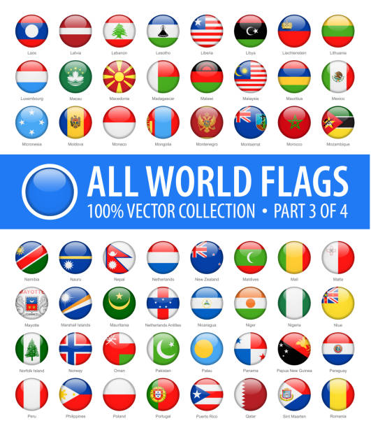 world flags - vector round glossy icons - part 3 of 4 - polish flag stock illustrations