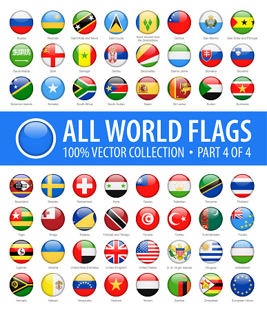 World Flags - Vector Round Glossy Icons - Part 4 of 4
