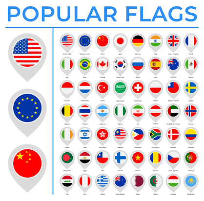 World Flags - Vector Round Pin Flat Icons - Most Popular