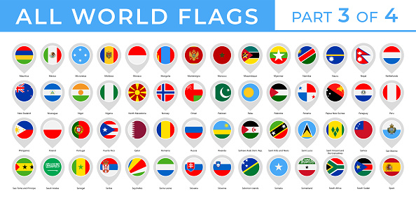 World Flags - Vector Round Pin Flat Icons - Part 3 of 4