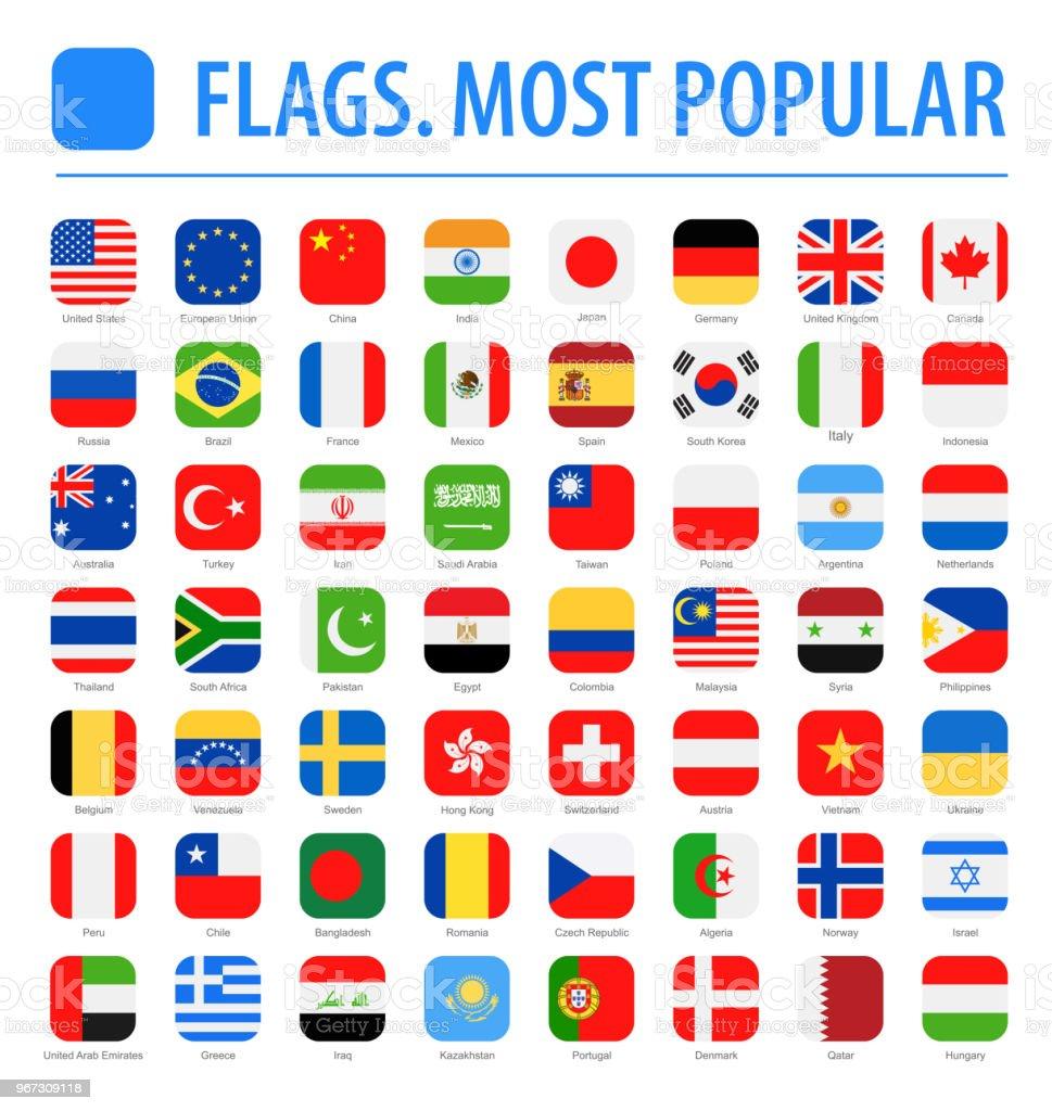 Drapeaux monde - Vector carré arrondi plat Icons - les plus populaires - Illustration vectorielle