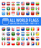 World Flags - Vector Rounded Square Glossy Icons - Part 3 of 4