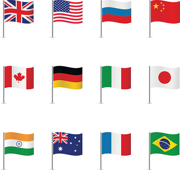 world flags. vector set. - russian flag stock illustrations, clip art, cartoons, & icons