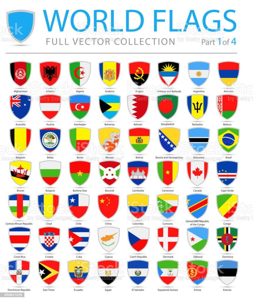 Mundo banderas - vectores escudo plano iconos - parte 1 de 4 - ilustración de arte vectorial