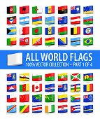 World Flags - Vector Tag Label Glossy Icons - Part 1 of 4