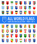 World Flags - Vector Vertical Bookmark Glossy Icons - Part 1 of 4