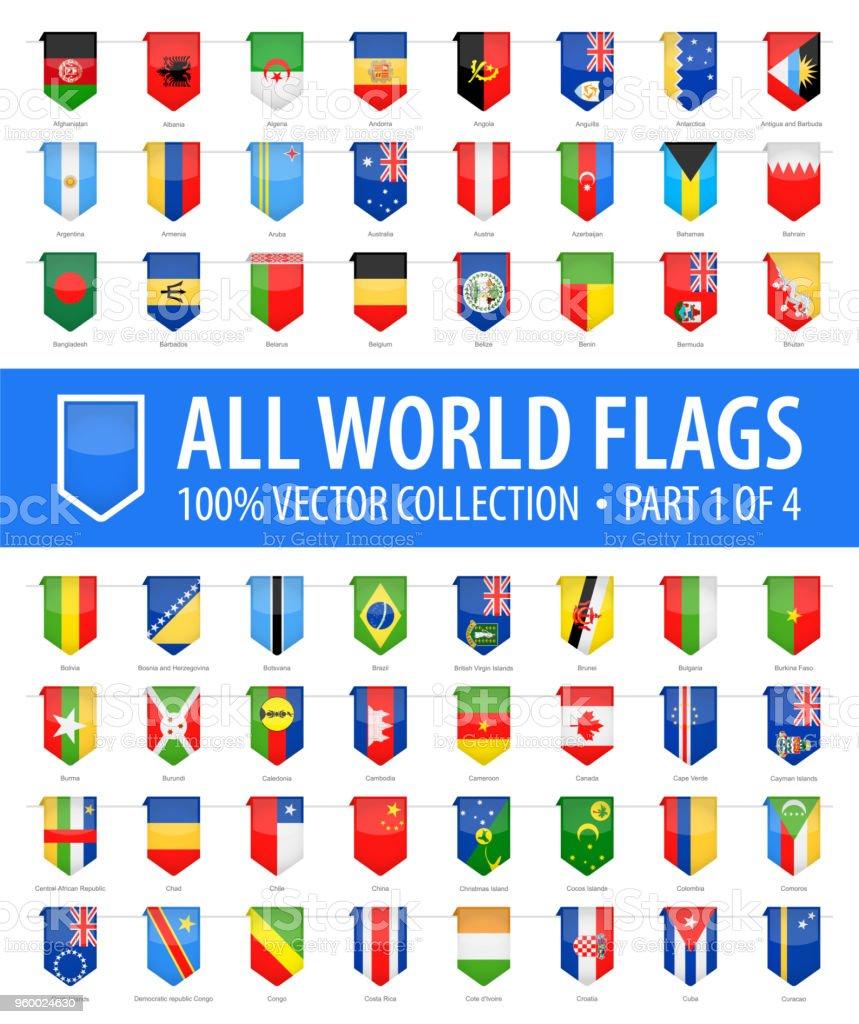 Mundo banderas - Vector Vertical marcador brillante iconos - parte 1 de 4 - ilustración de arte vectorial