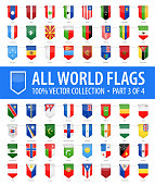 World Flags - Vector Vertical Bookmark Glossy Icons - Part 3 of 4