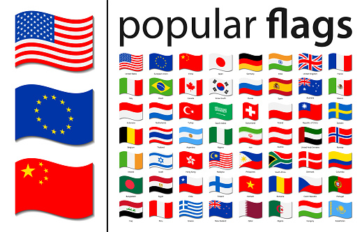 World Flags - Vector Wave Rectangle Flat Icons - Most Popular