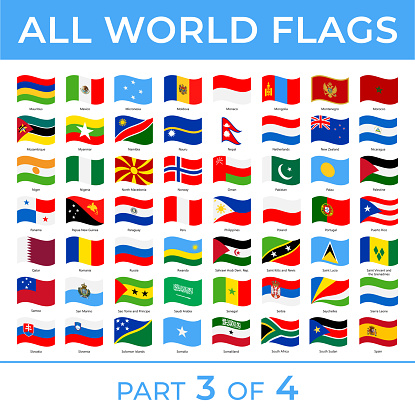 World Flags - Vector Wave Rectangle Flat Icons - Part 3 of 4