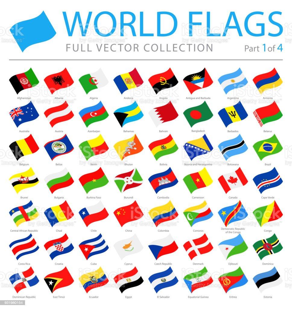 Banderas del mundo - Vector agitando los iconos planos - parte 1 de 4 - ilustración de arte vectorial