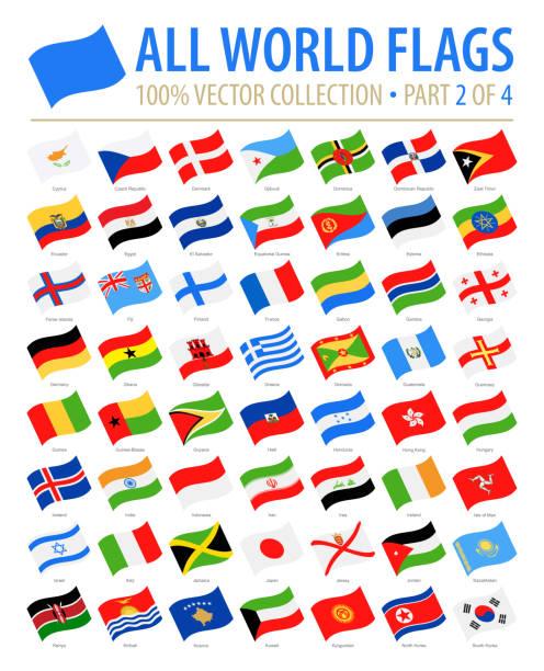 世界のフラグ - ベクトルを振ってフラット アイコン - 4 のパート 2 - フィンランドの国旗点のイラスト素材/クリップアート素材/マンガ素材/アイコン素材
