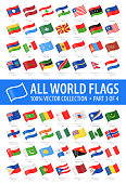 World Flags - Vector Waving Glossy Icons - Part 3 of 4