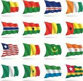 World flags waving
