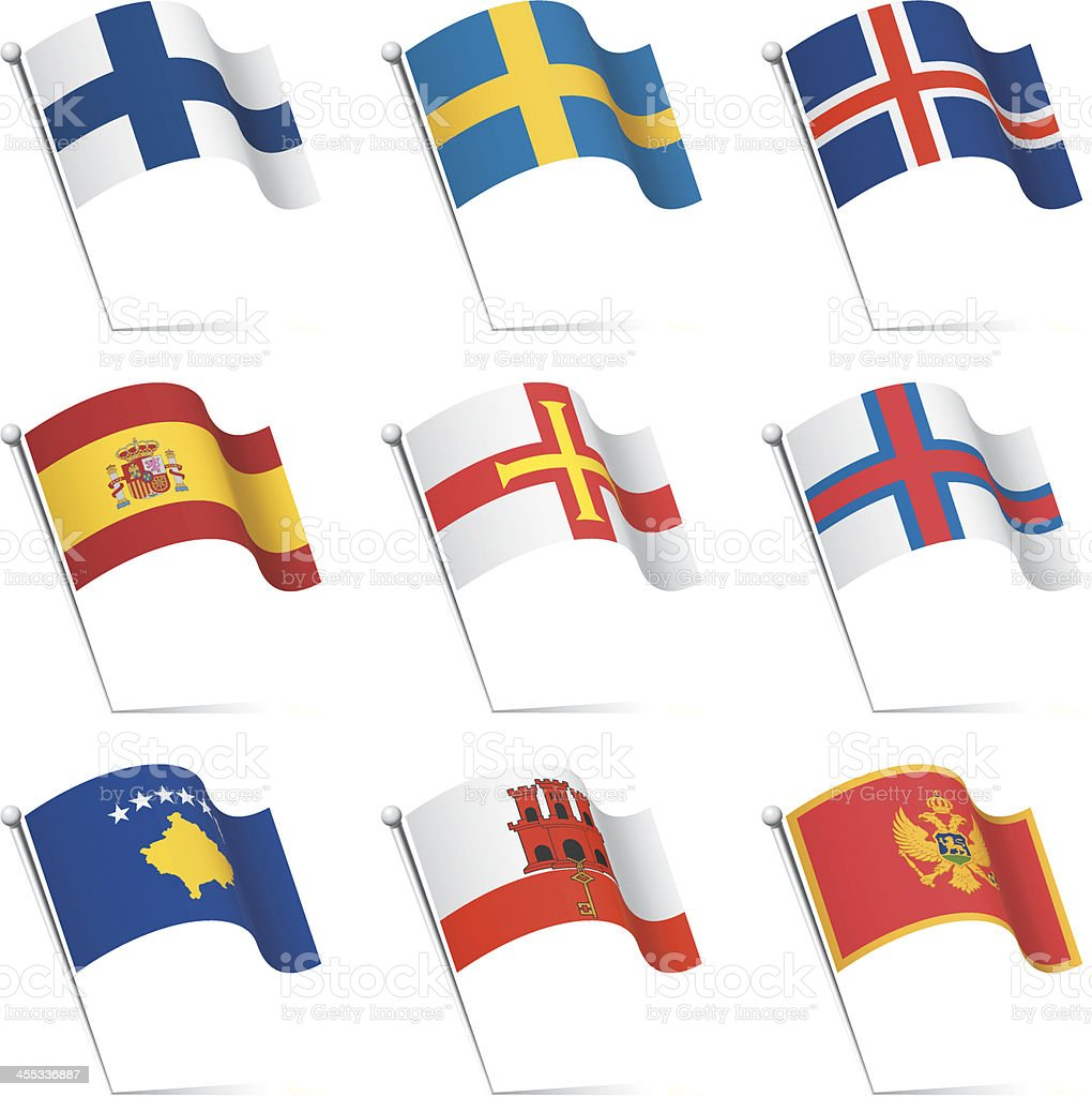 World flags waving royalty-free stock vector art