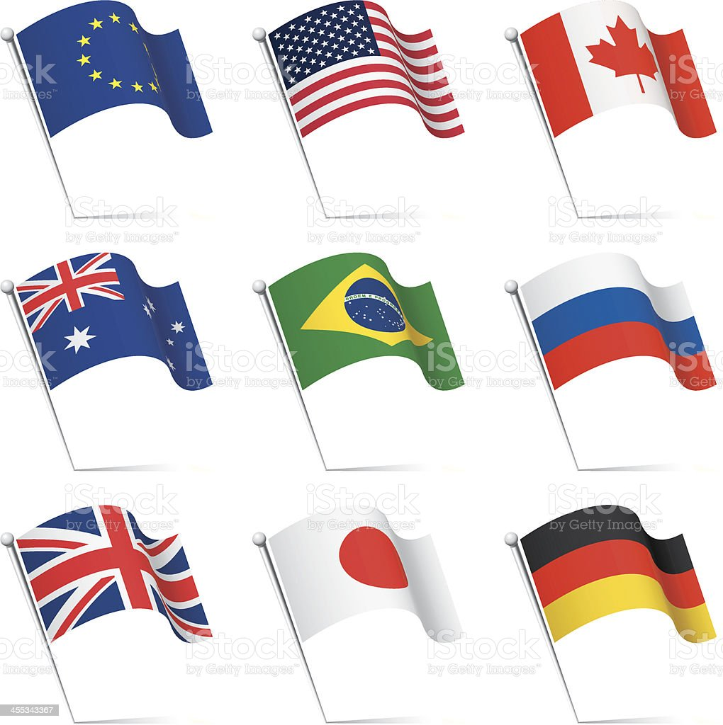 World flags waving vector art illustration