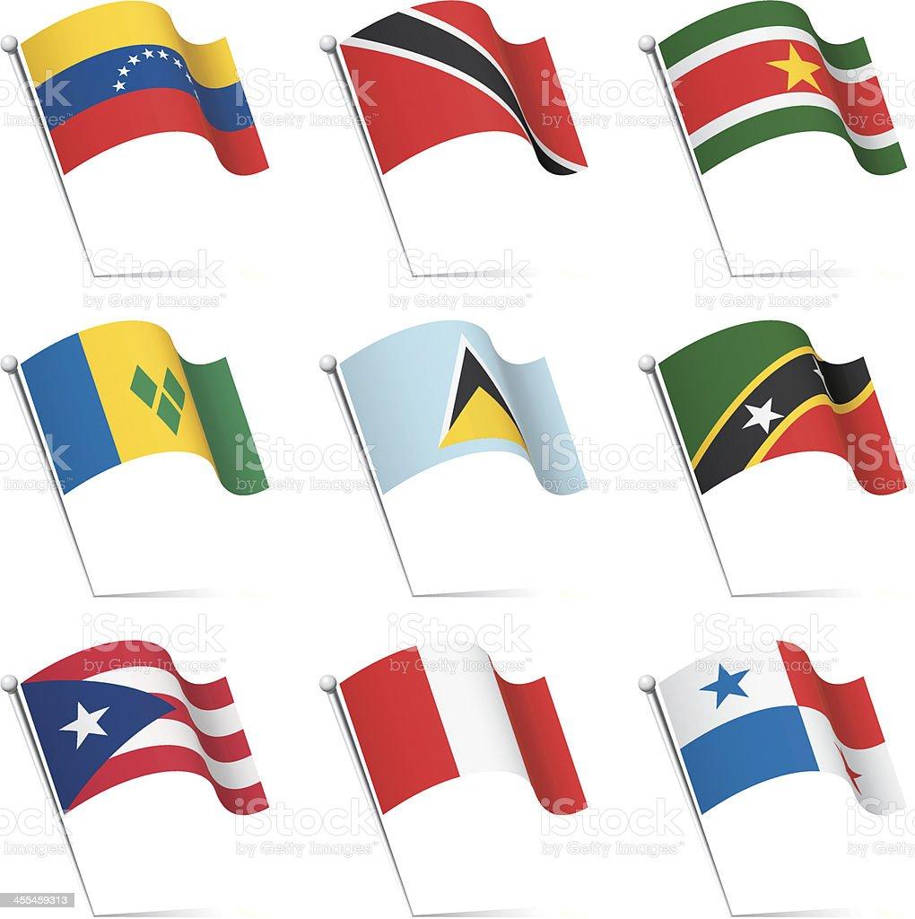 World flags waving vector art illustration
