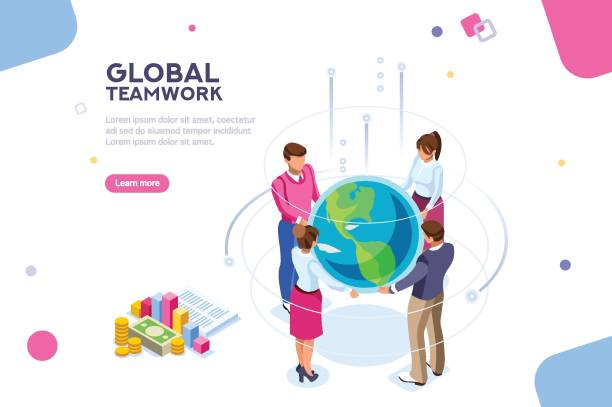 World Flat Isometric Vector Search idea, new meeting profit, worker partner, staff strategy. Businesswoman presentation. Confident company investor corporate global colleague standing. World of flat isometric vector illustration colleague stock illustrations