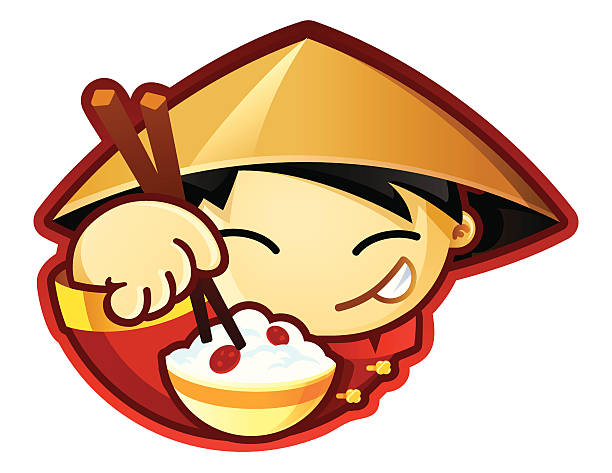 World Food Characters China vector art illustration
