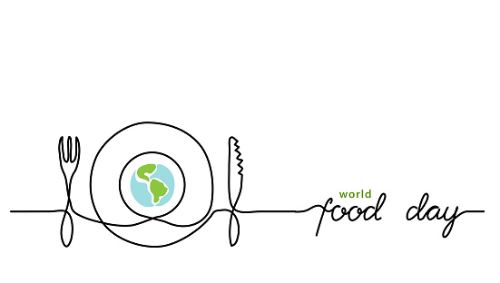 World food day holiday concept with earth or globe and plate, knife and fork. Single line art with text Food Day