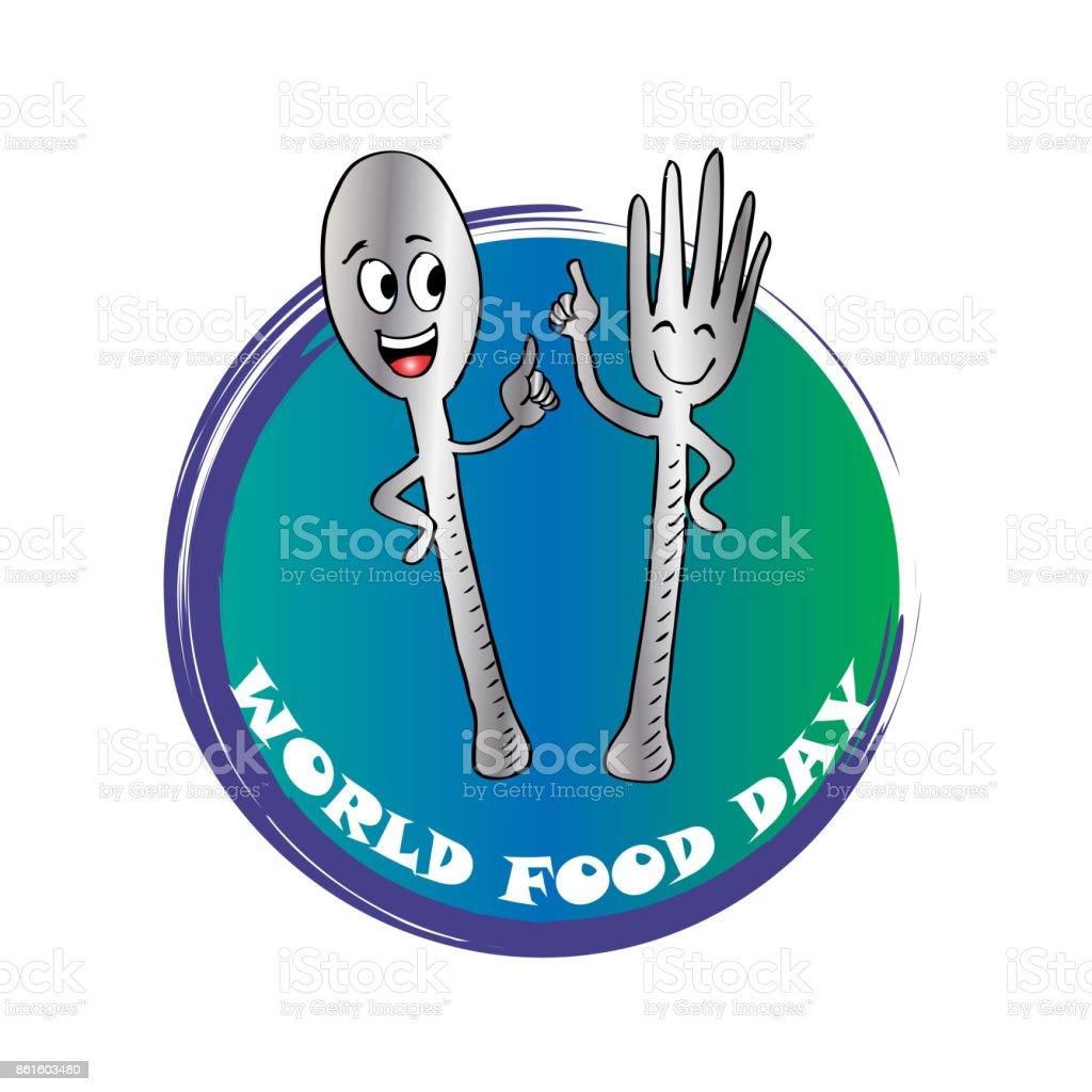 Ilustracion De Cartel De Dia De La Alimentacion Mundial Con Dibujos Animados De La Horquilla Y Mas Vectores Libres De Derechos De Alimento Istock