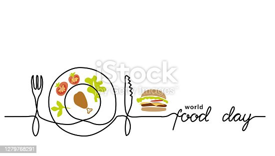 istock World food day simple line border, web banner, simple vector background. One continuous line drawing with lettering Food Day 1279768291