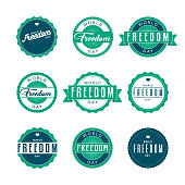 World Freedom Day Labels Icon Set