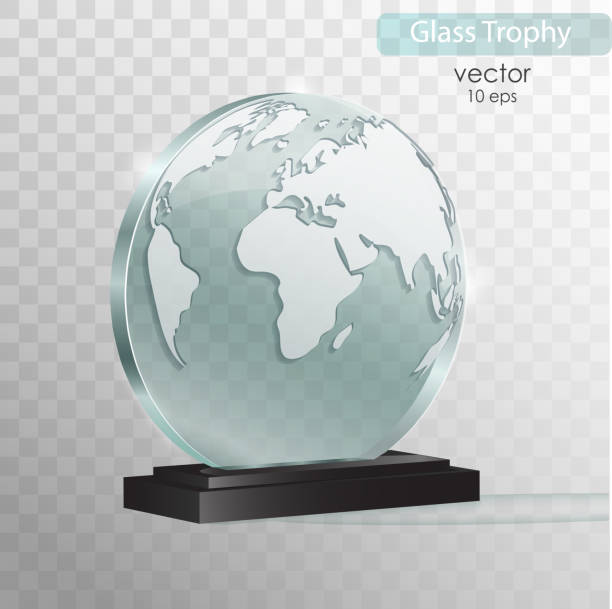 illustrazioni stock, clip art, cartoni animati e icone di tendenza di world glass award. glass trophy award. vector illustration isolated on transparent background. realistic 3d design. realistic vector transparent object 10 eps - glass world