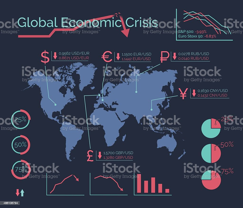 World global economic crisis. Financial vector infographic. vector art illustration