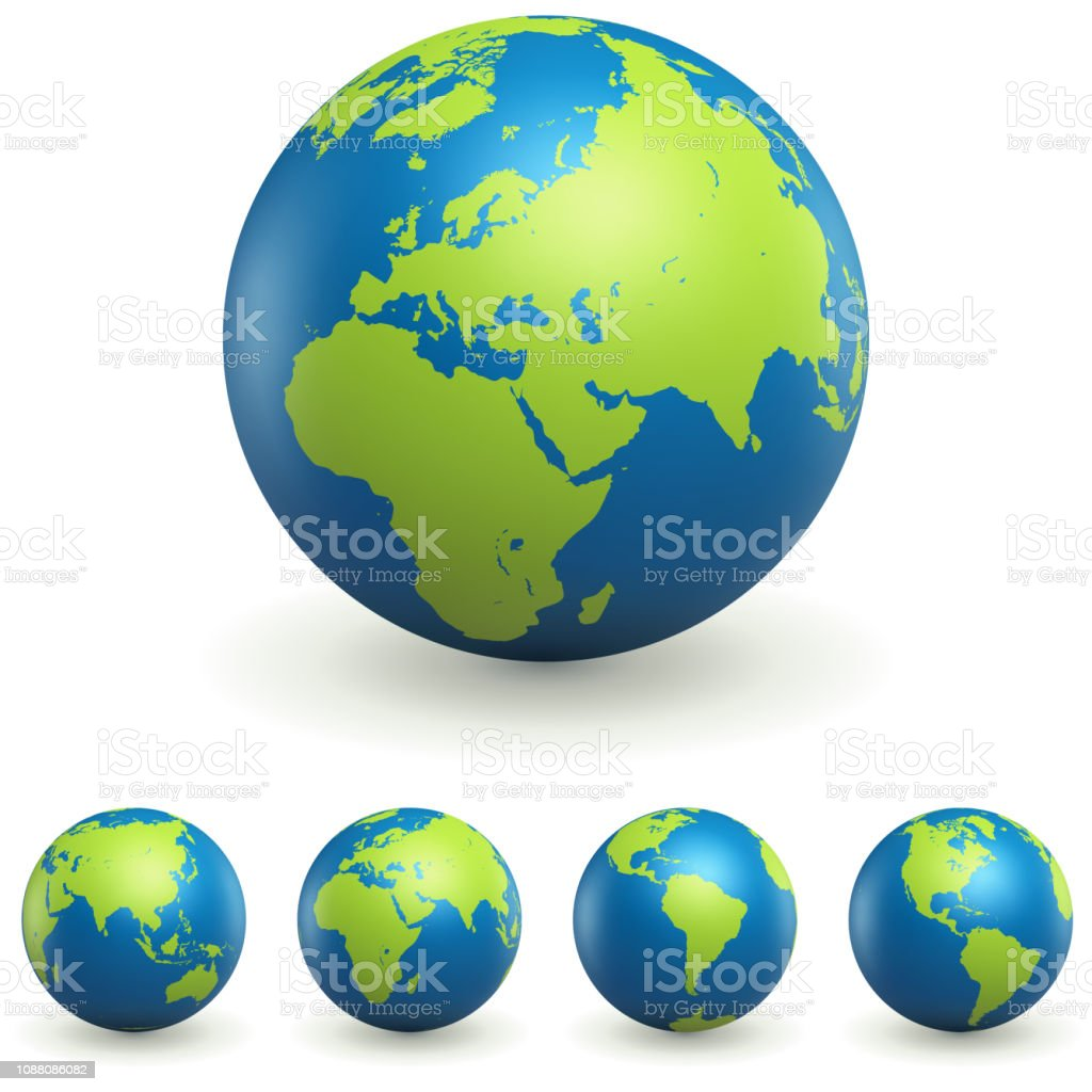 World Globe 3D Signs Set - Royalty-free Austrália arte vetorial