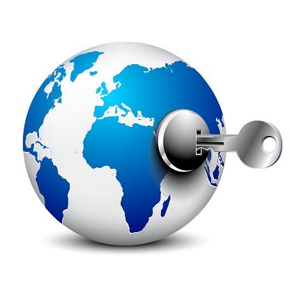 World globe and key on white background