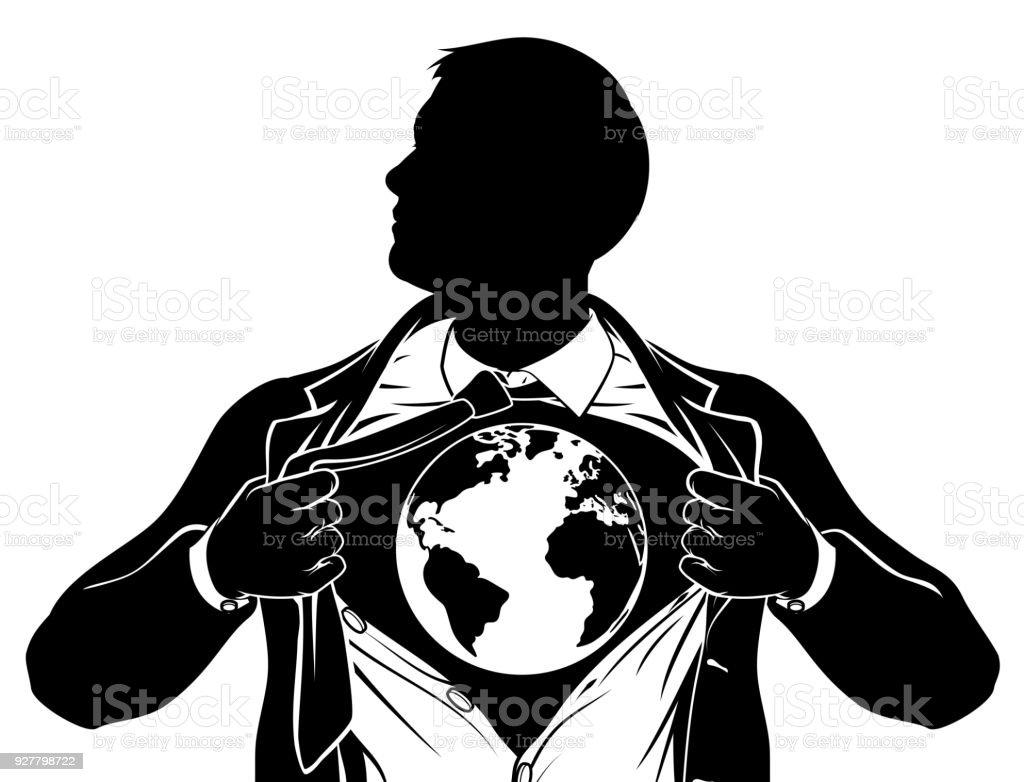 World Globe Business Superhero Tearing Shirt Chest vector art illustration