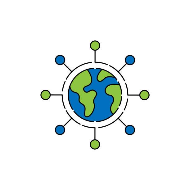 stockillustraties, clipart, cartoons en iconen met de bolpictogram van de wereld die op witte achtergrond, bolpictogram, bolpictogram vector, bolvector wordt geïsoleerd - new world