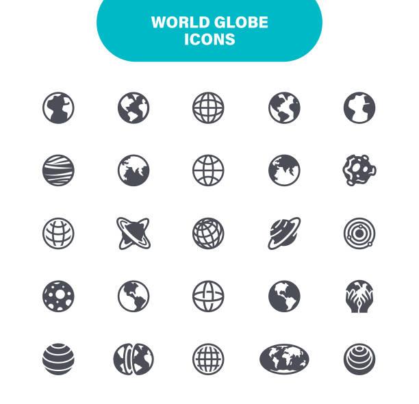 weltkugel-ikonen. set enthält symbole wie globus, karte, navigation, weltkarte, global business - weltkugel stock-grafiken, -clipart, -cartoons und -symbole