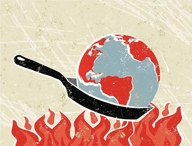 bildbanksillustrationer, clip art samt tecknat material och ikoner med world globe in a frying pan with flames - climate change