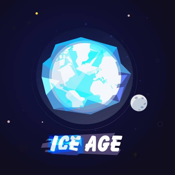 weltkugel in eis kugel. ice age-konzept mit typografischen oder logo-typ - vektor - eiszeit stock-grafiken, -clipart, -cartoons und -symbole