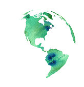 Vector of the globe in water color brush style.